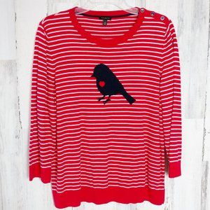 Talbots XL Sweater Shirt Red White Striped w/ Bird